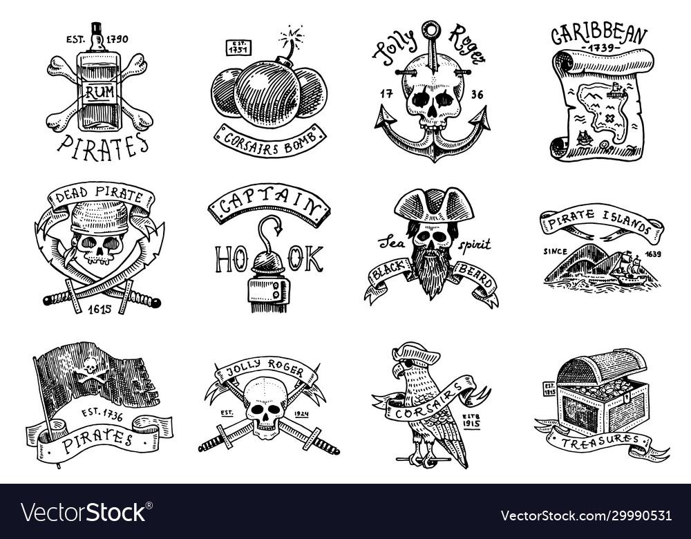 Set pirate labels corsairs skull at anchor