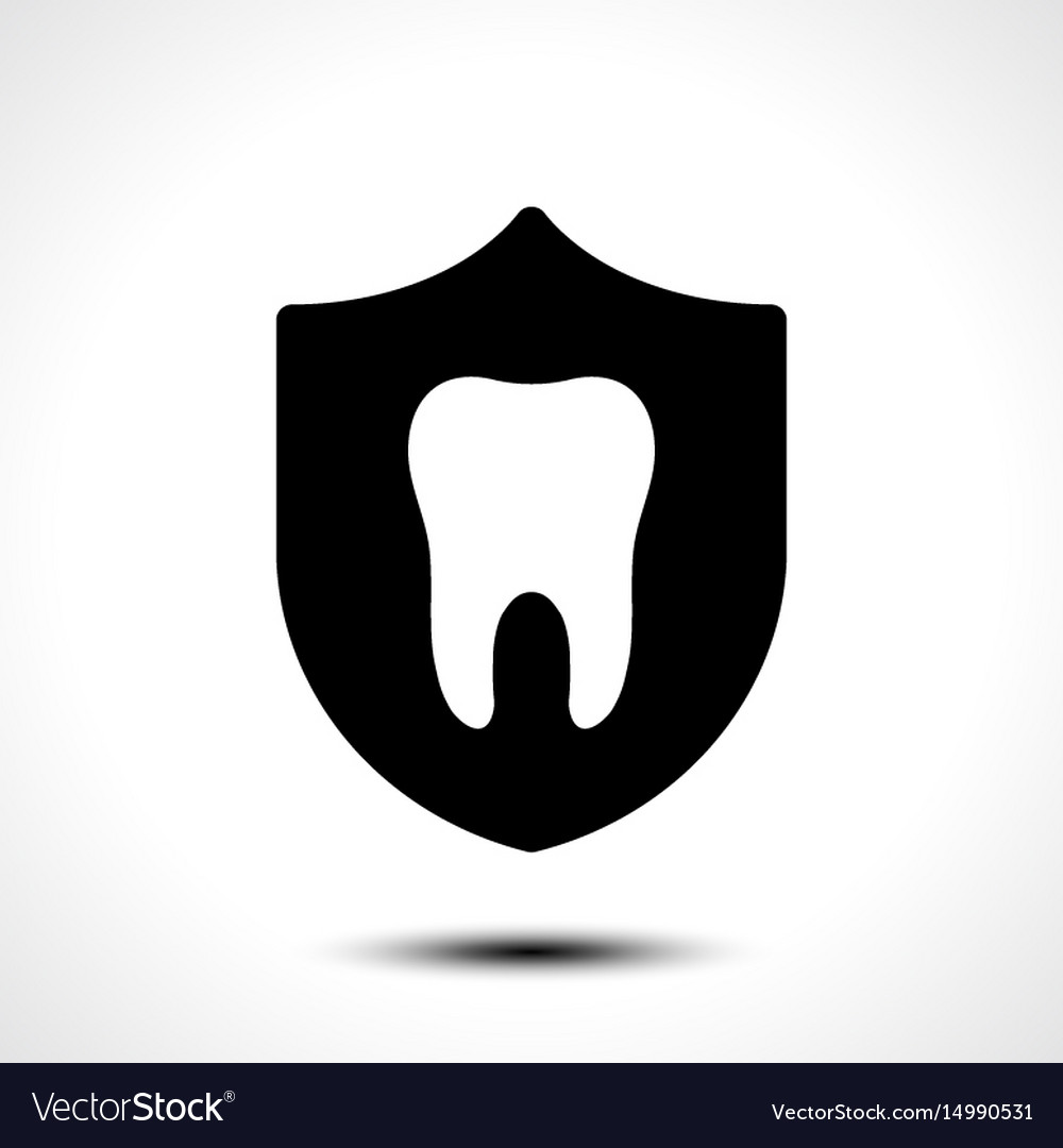 Tooth with protective shield on white background