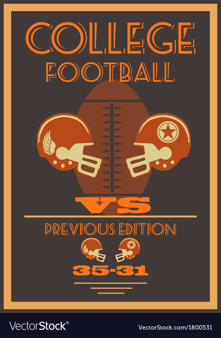Vintage College American Football Poster Vector Image