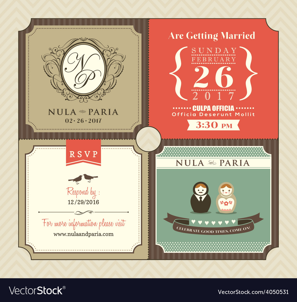 Vintage Style Wedding Invitation Card Template