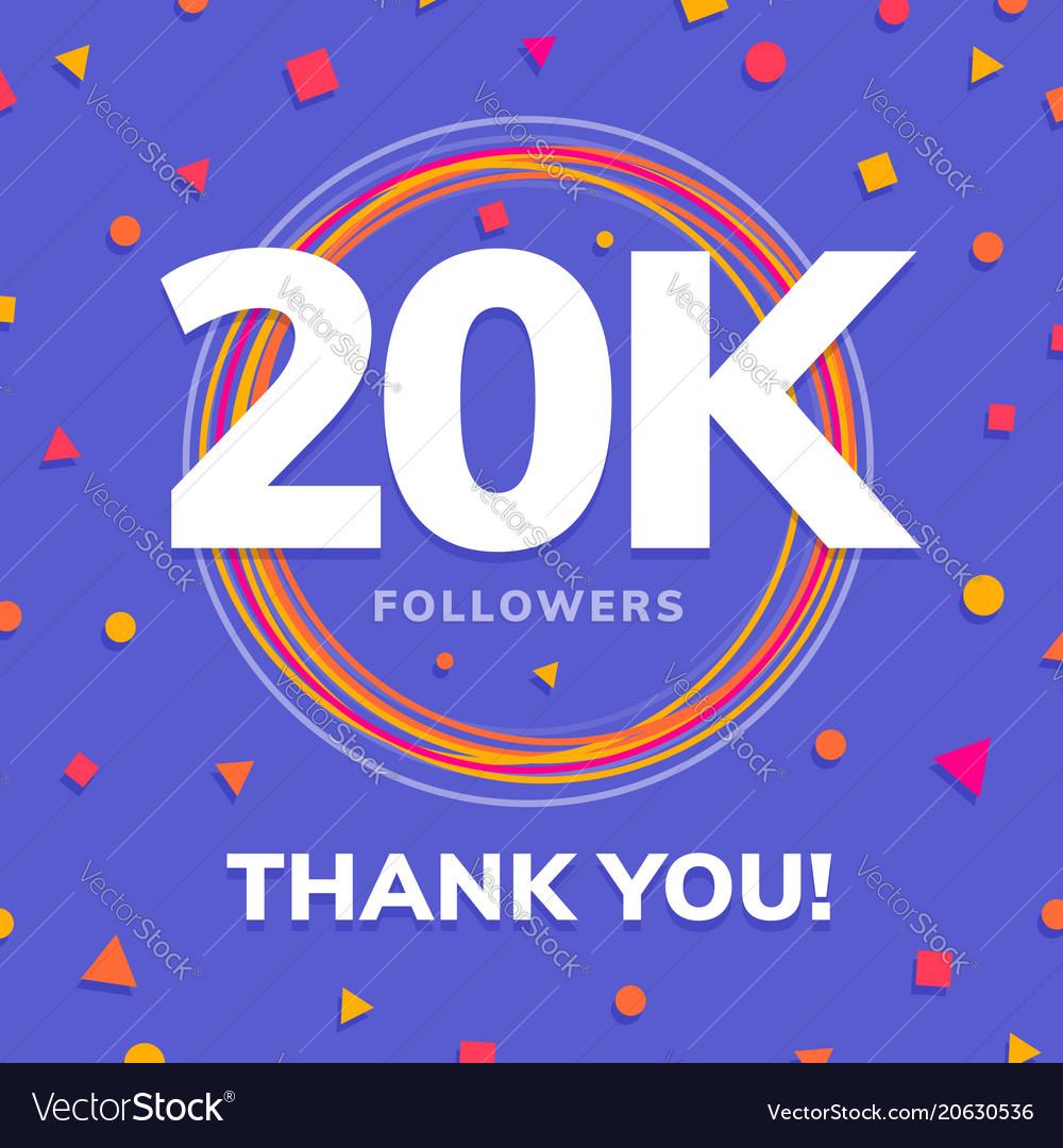 20k followers social sites post greeting card