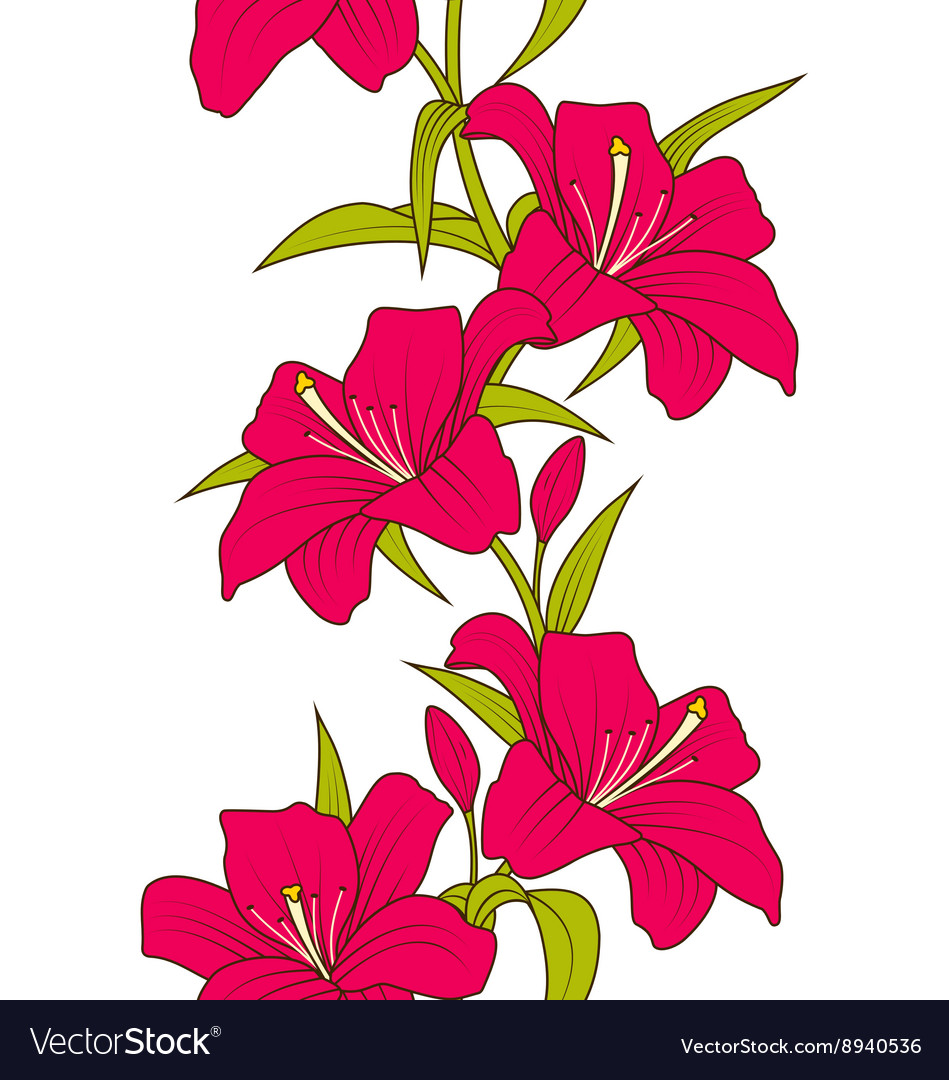 Beautiful Seamless Wallpaper With Lily Flowers Vector Image