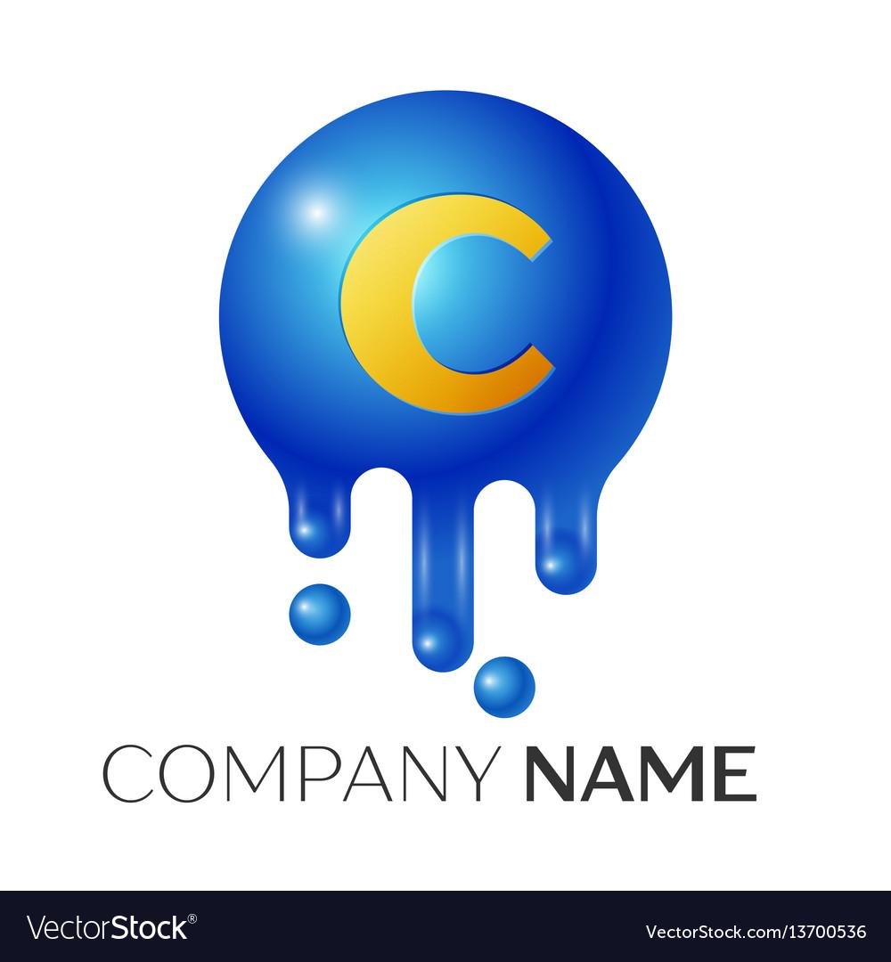 C letter splash logo blue dots and bubbles letter vector image