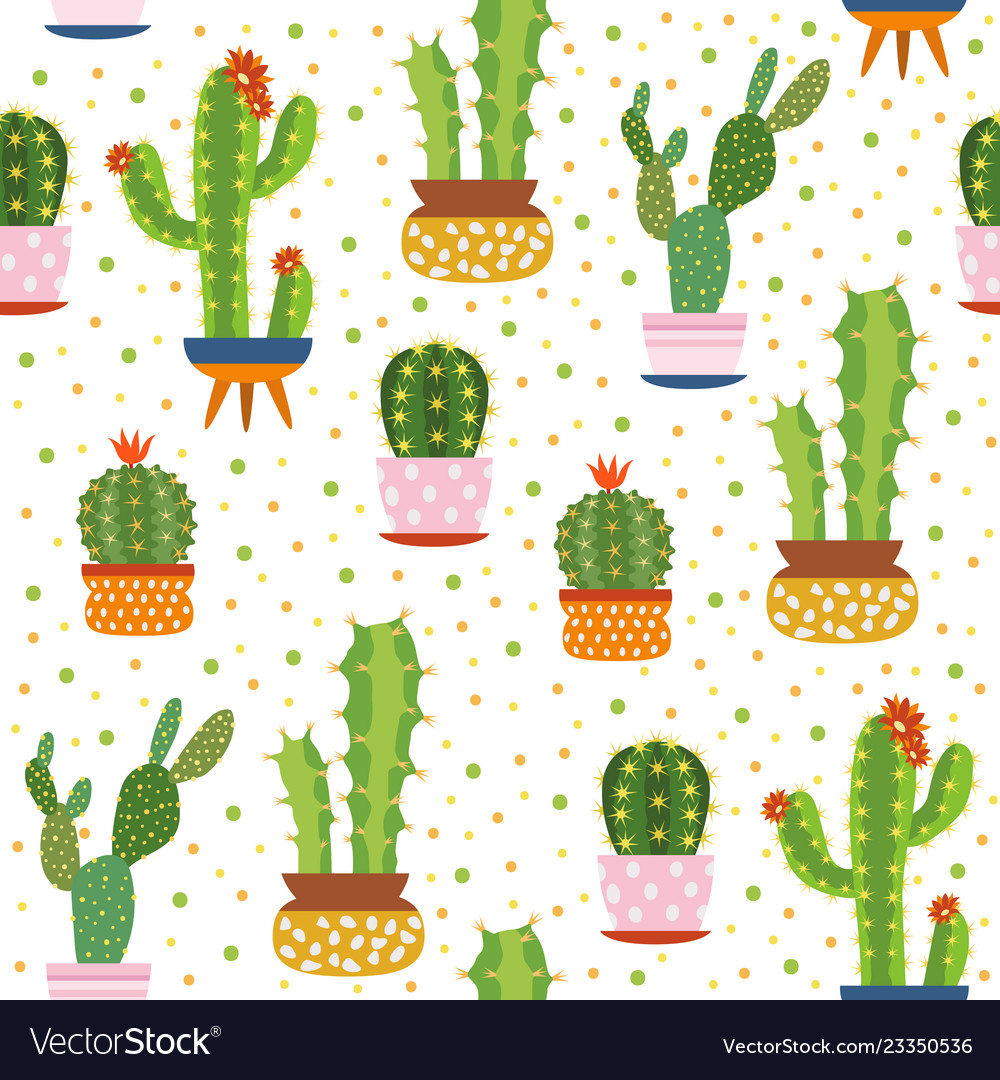 Cacti seamless pattern spiky cactus desert