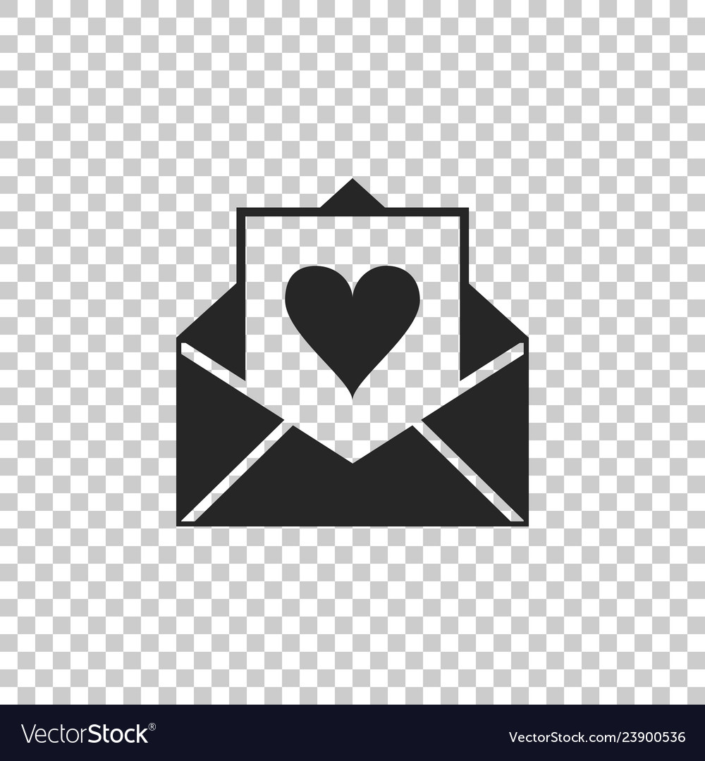 Envelope with valentine heart icon isolated