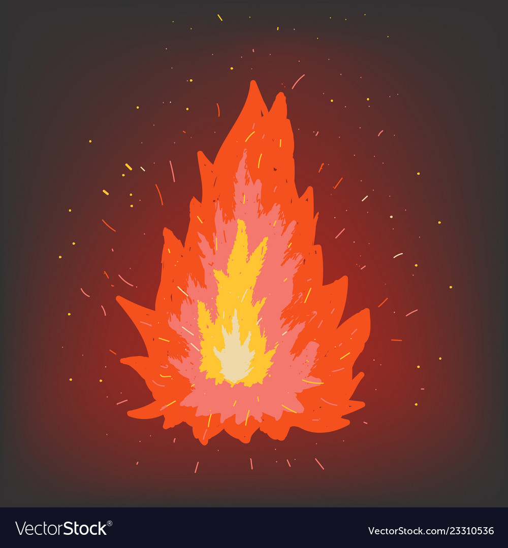 Fire on a dark background