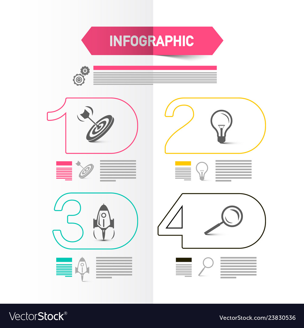 Four steps modern web presentation with icons and