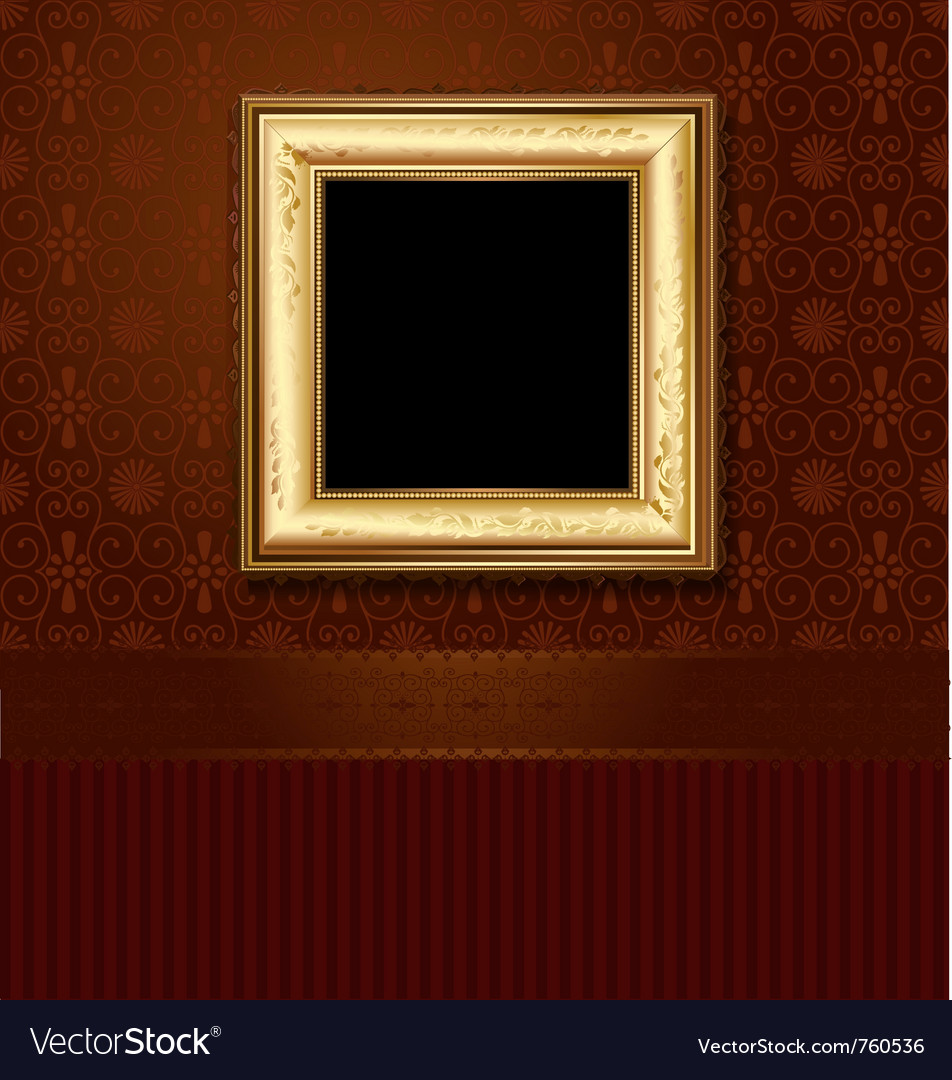 Golden picture frame vector image
