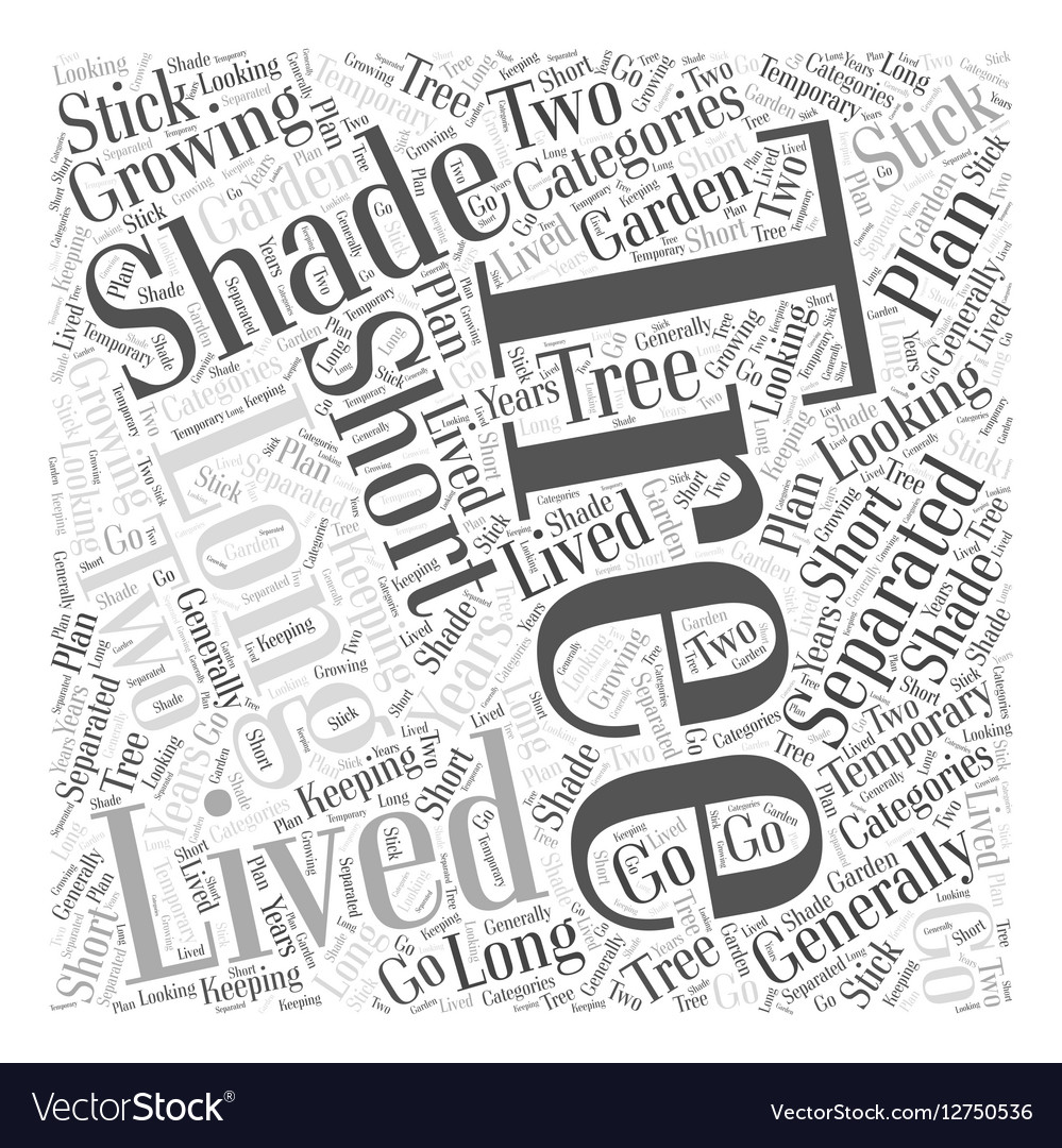 Growing Trees for Shade Word Cloud Concept vector image