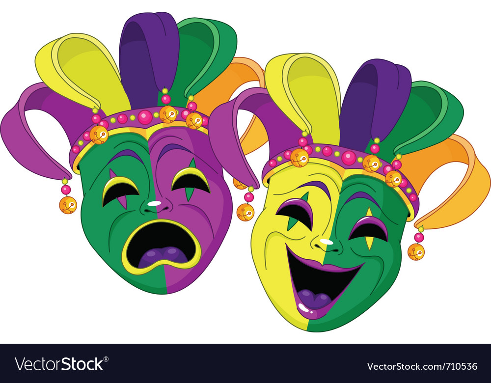 mardi gras comedy and tragedy masks royalty free vector