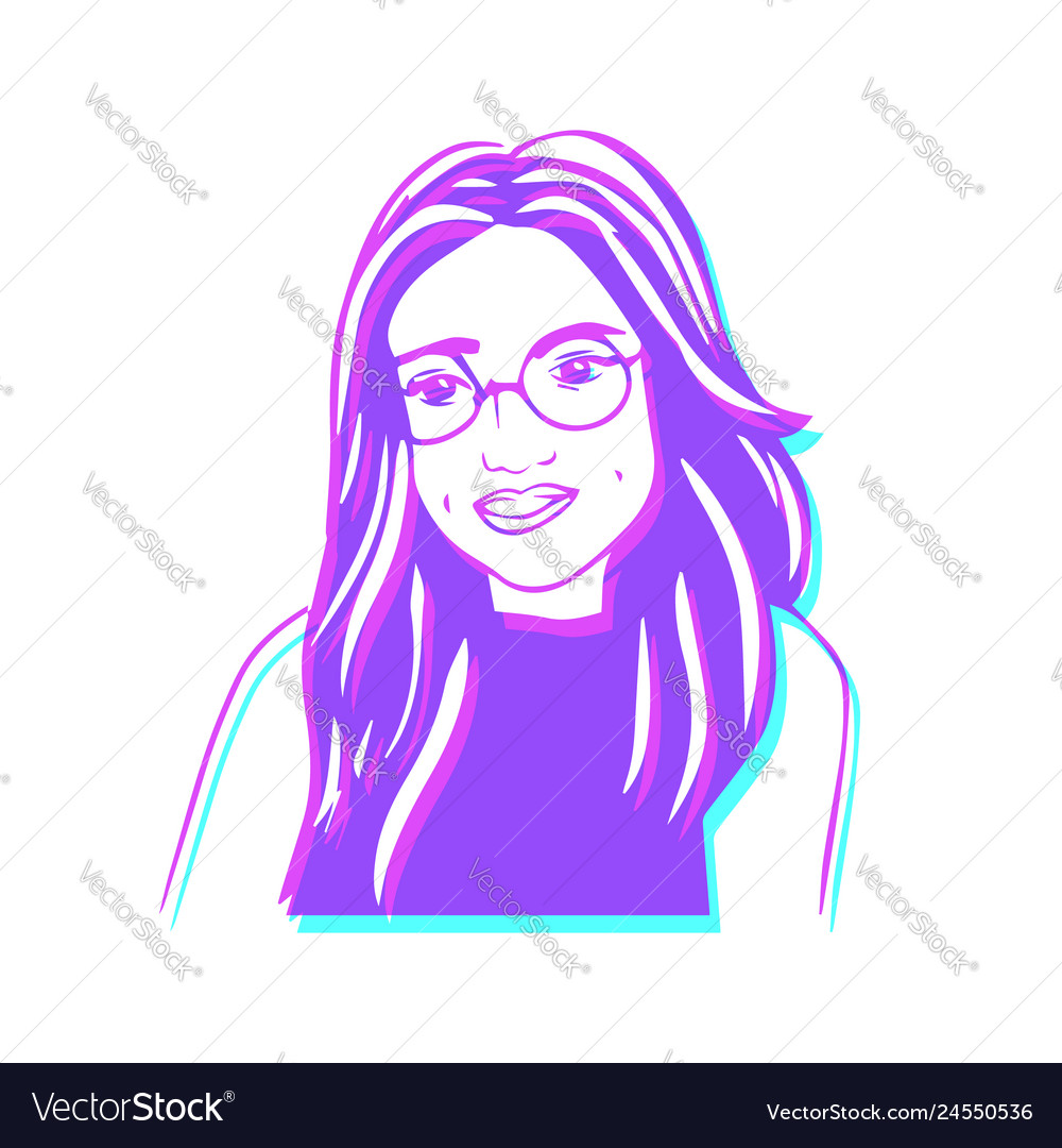 Retro avatar of happy girl with glasses