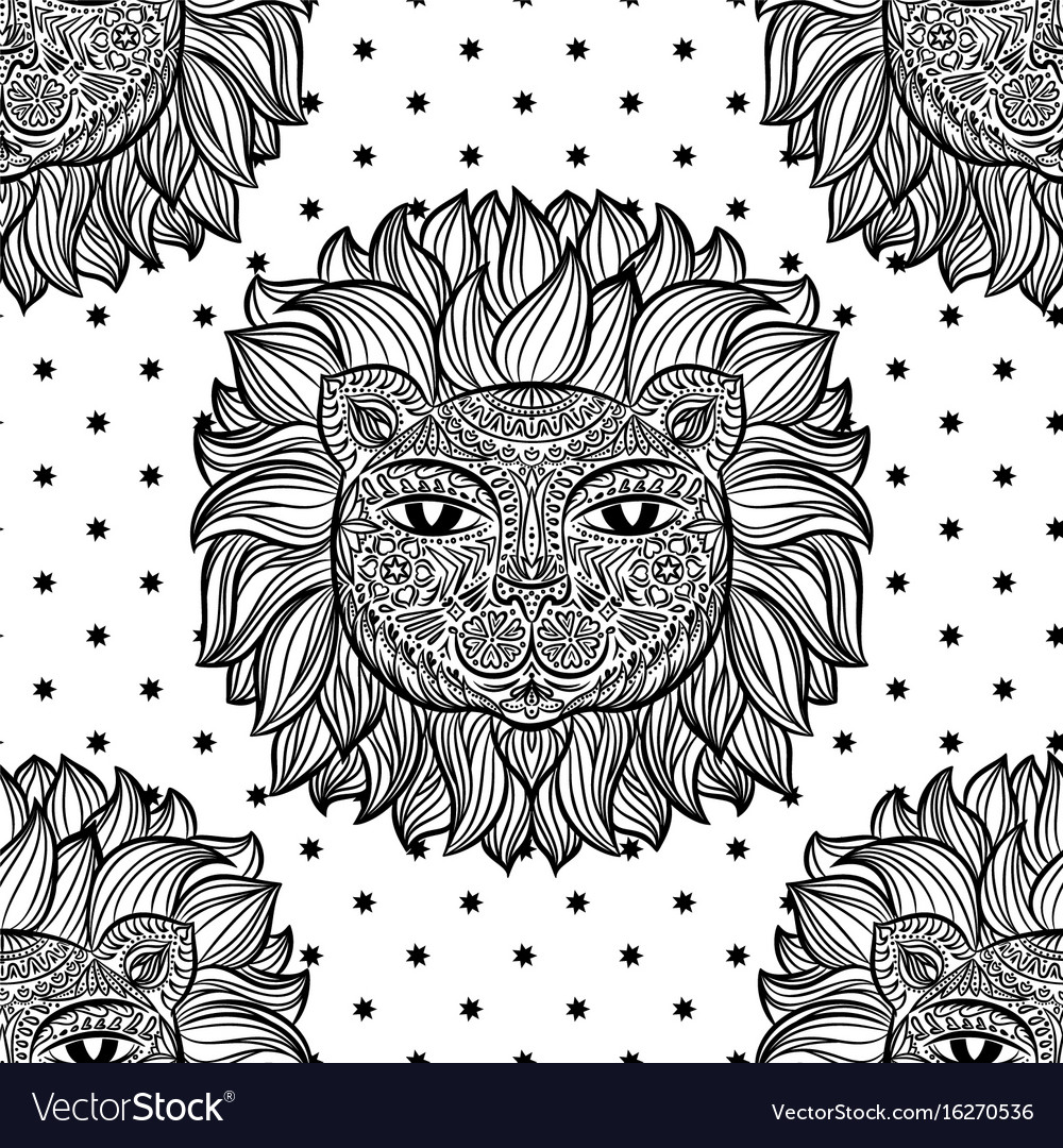 Seamless pattern with a lion head and stars on a