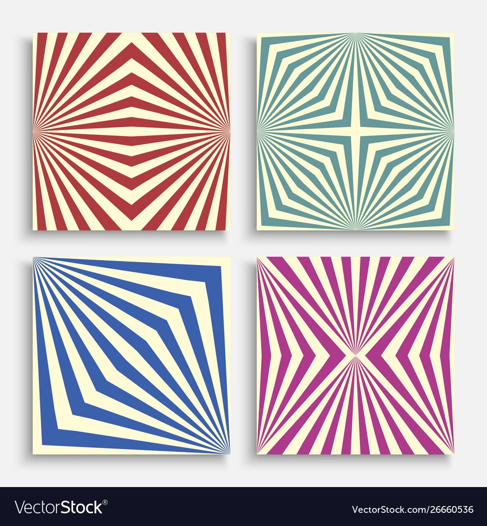 Set seamless retro colorful illusion vector