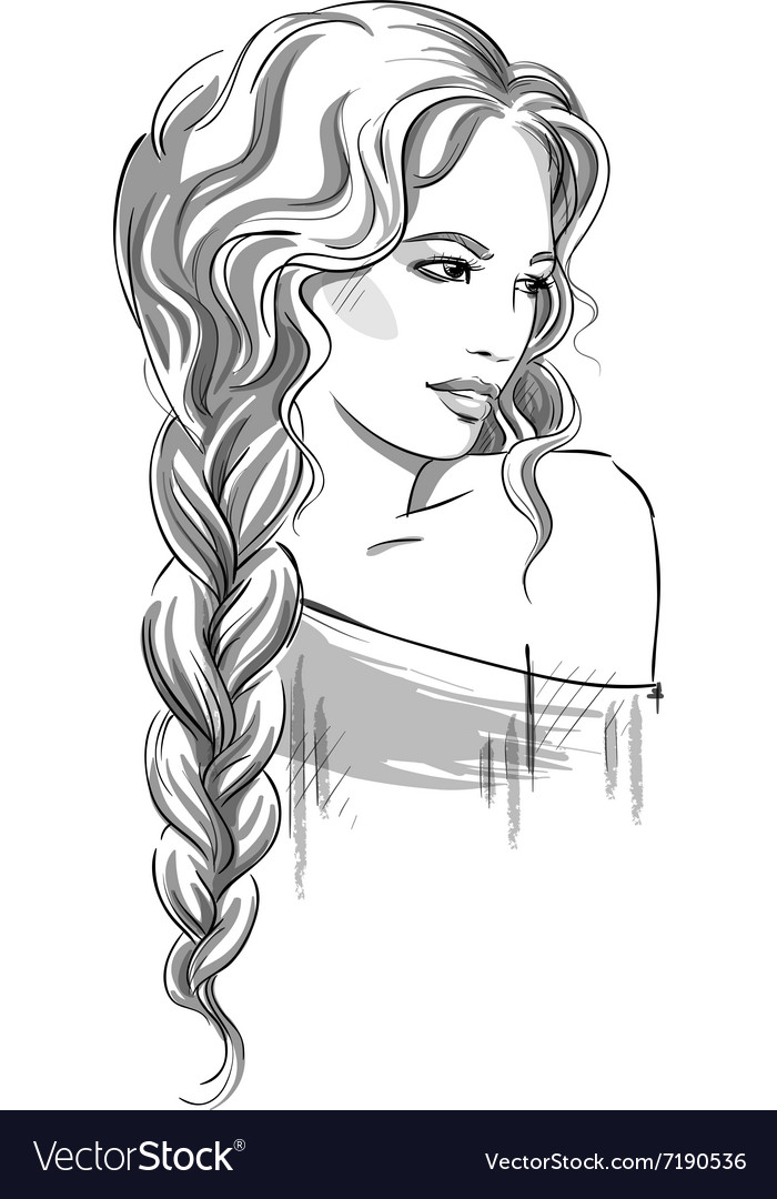 Sketch Of A Beautiful Girl With Braid Royalty Free Vector