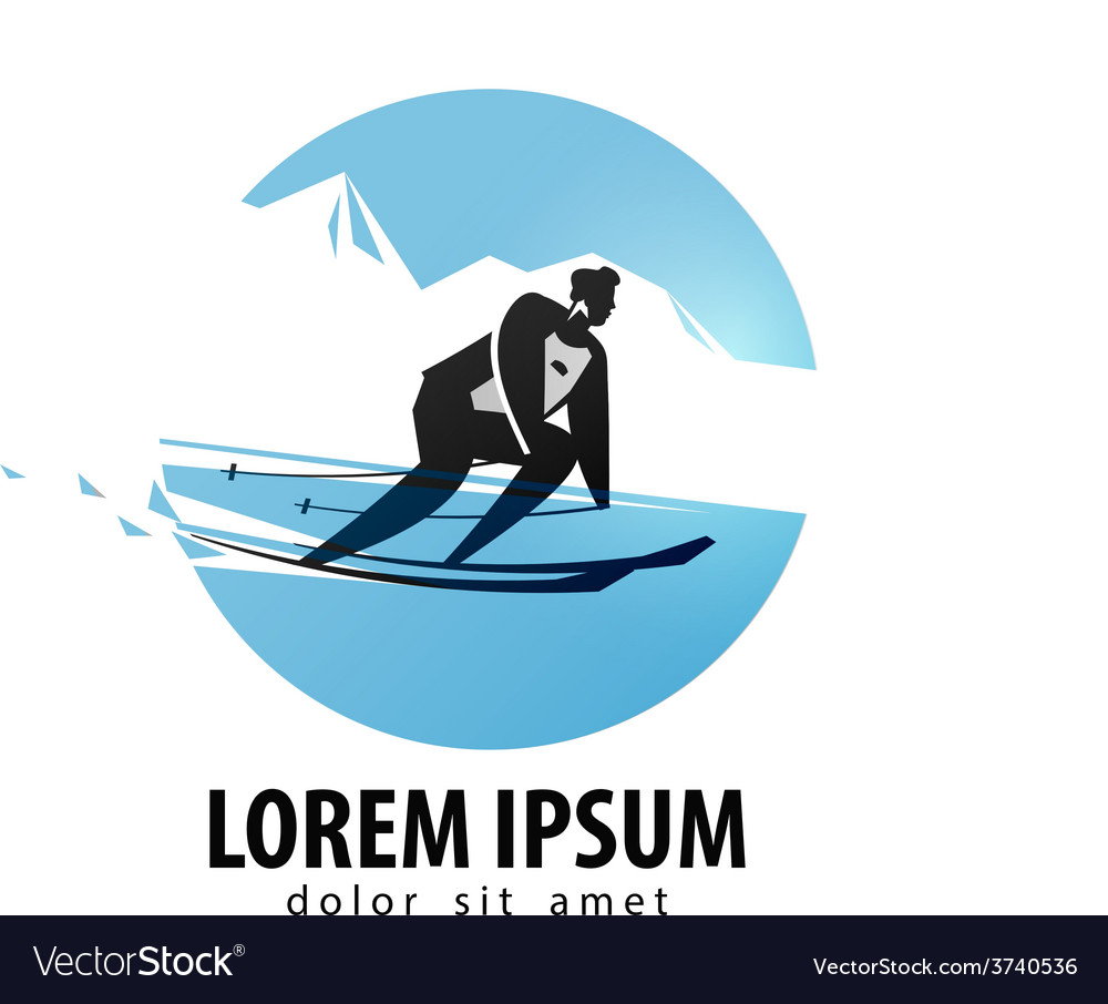 Skier logo design template skis or sports vector image