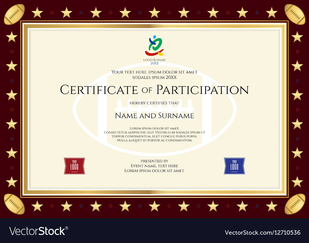 Sport Theme Certification Participation Template Vector Image