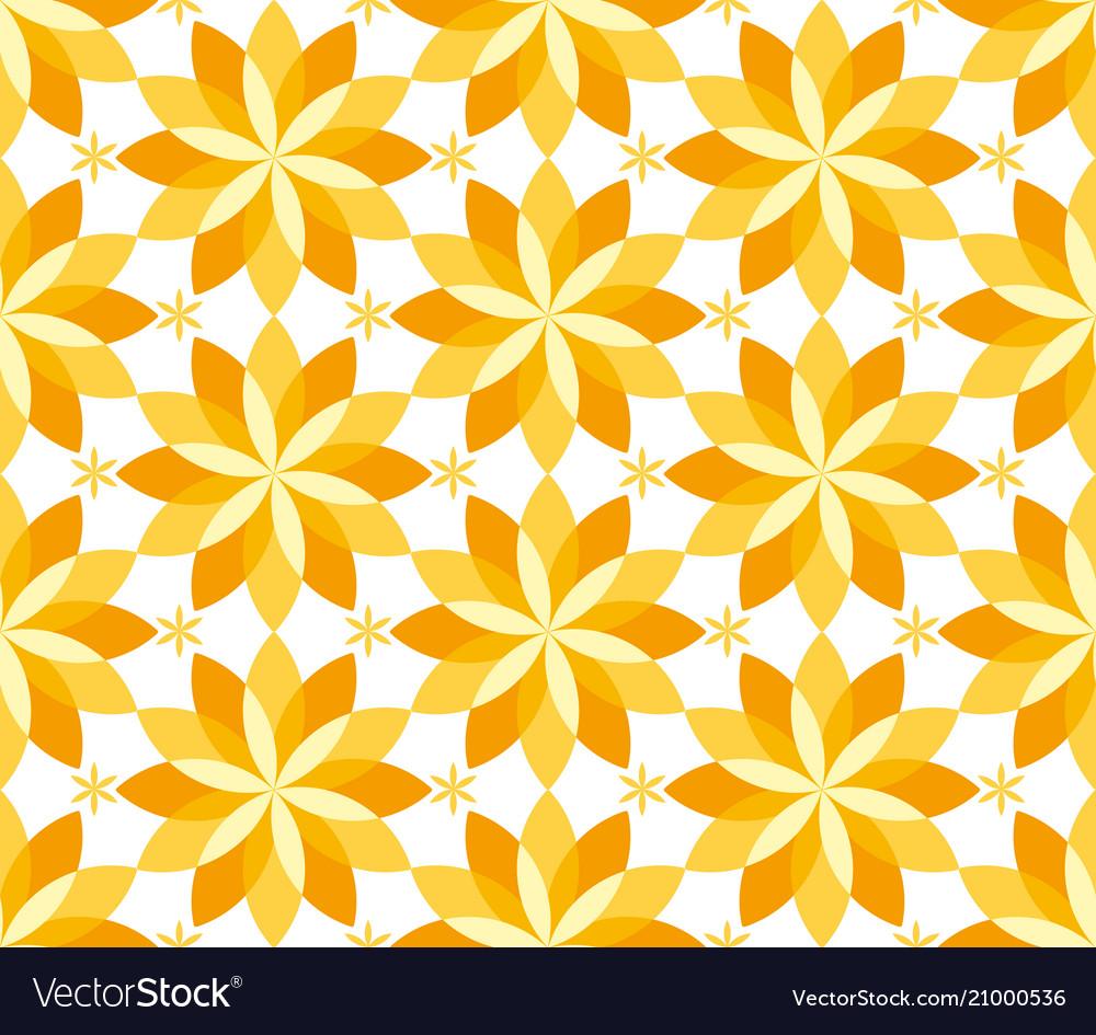 Sunny yellow floral geometric seamless pattern