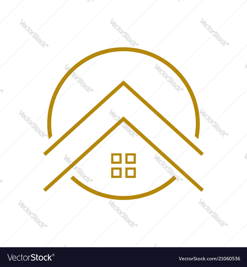 Upscale housing outline symbol logo design