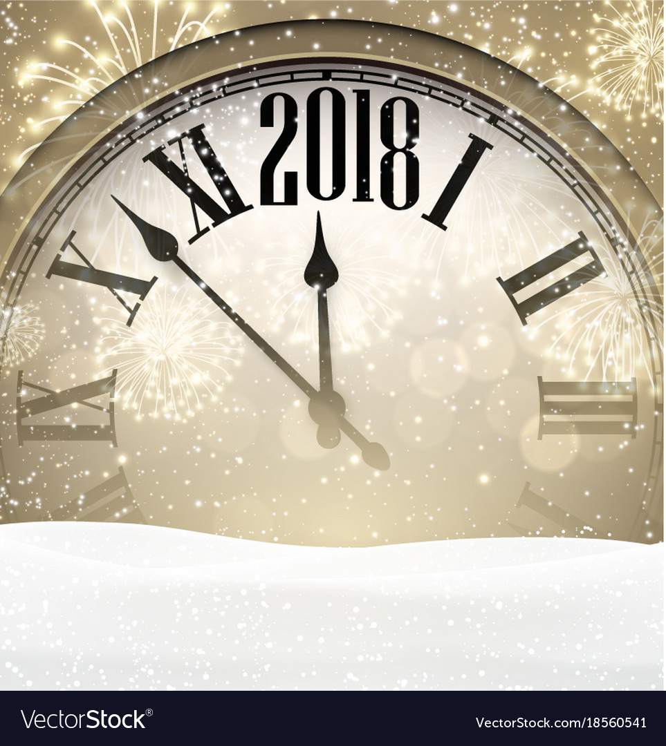 2018 new year background with clock Royalty Free Vector