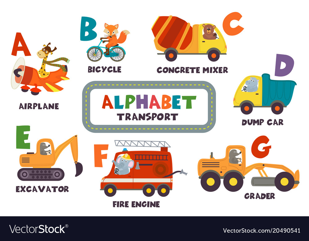 Alphabet with transport and animals a to g