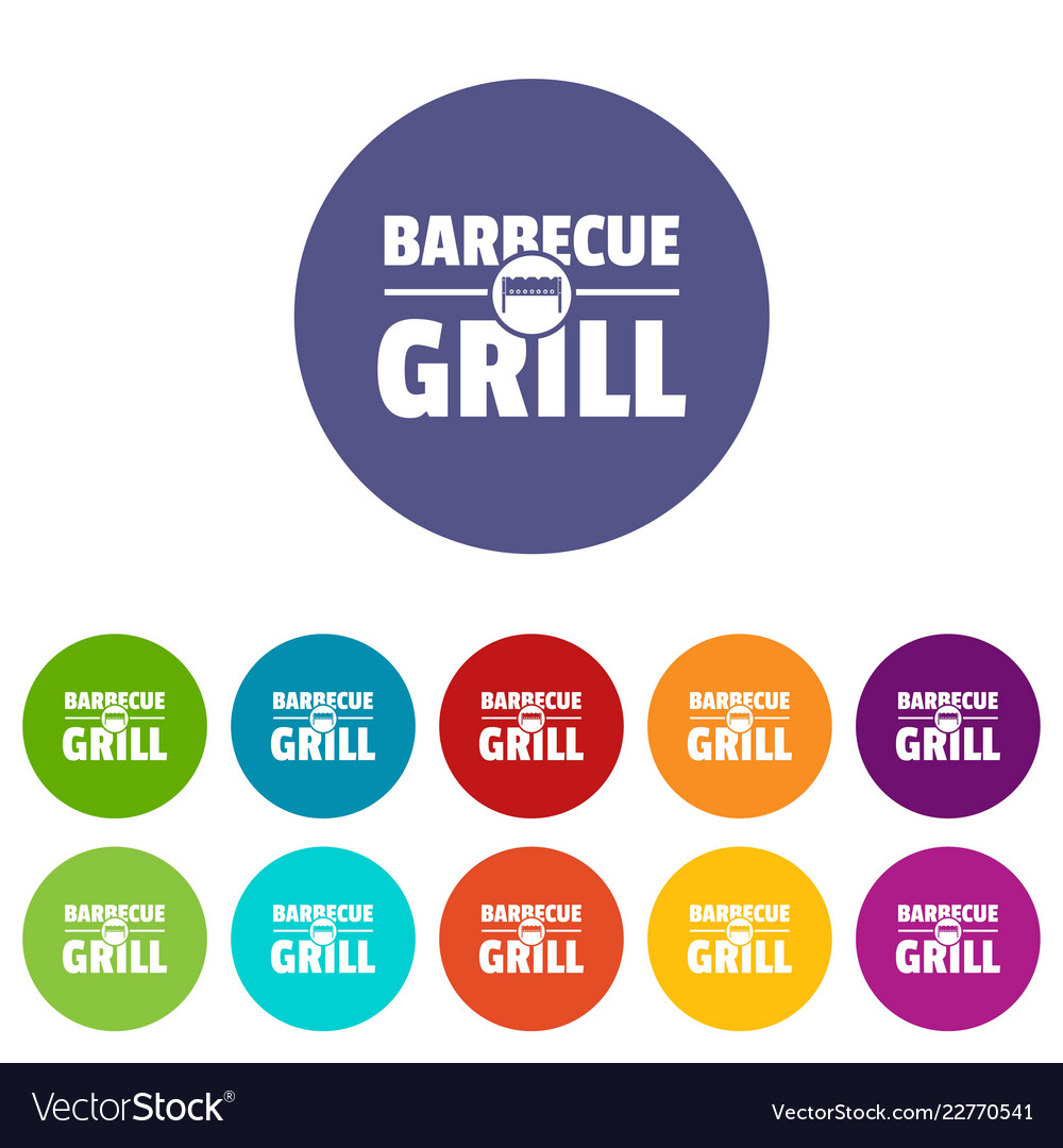 Barbecue grill icons set color