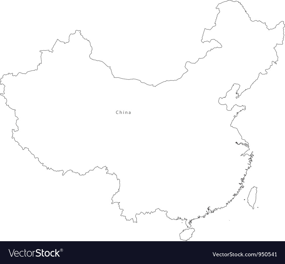 Black White China Outline Map vector image
