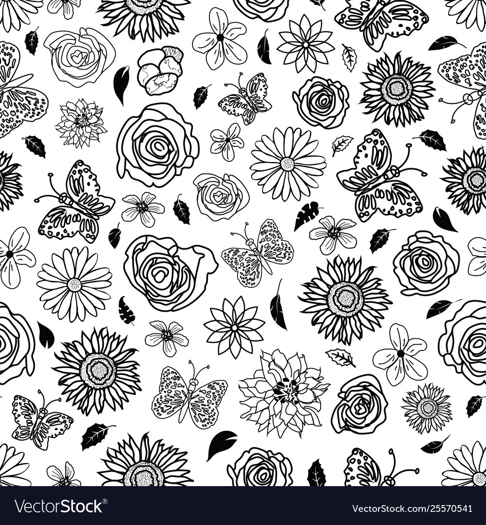 Cute hand drawn garden scenery seamless background