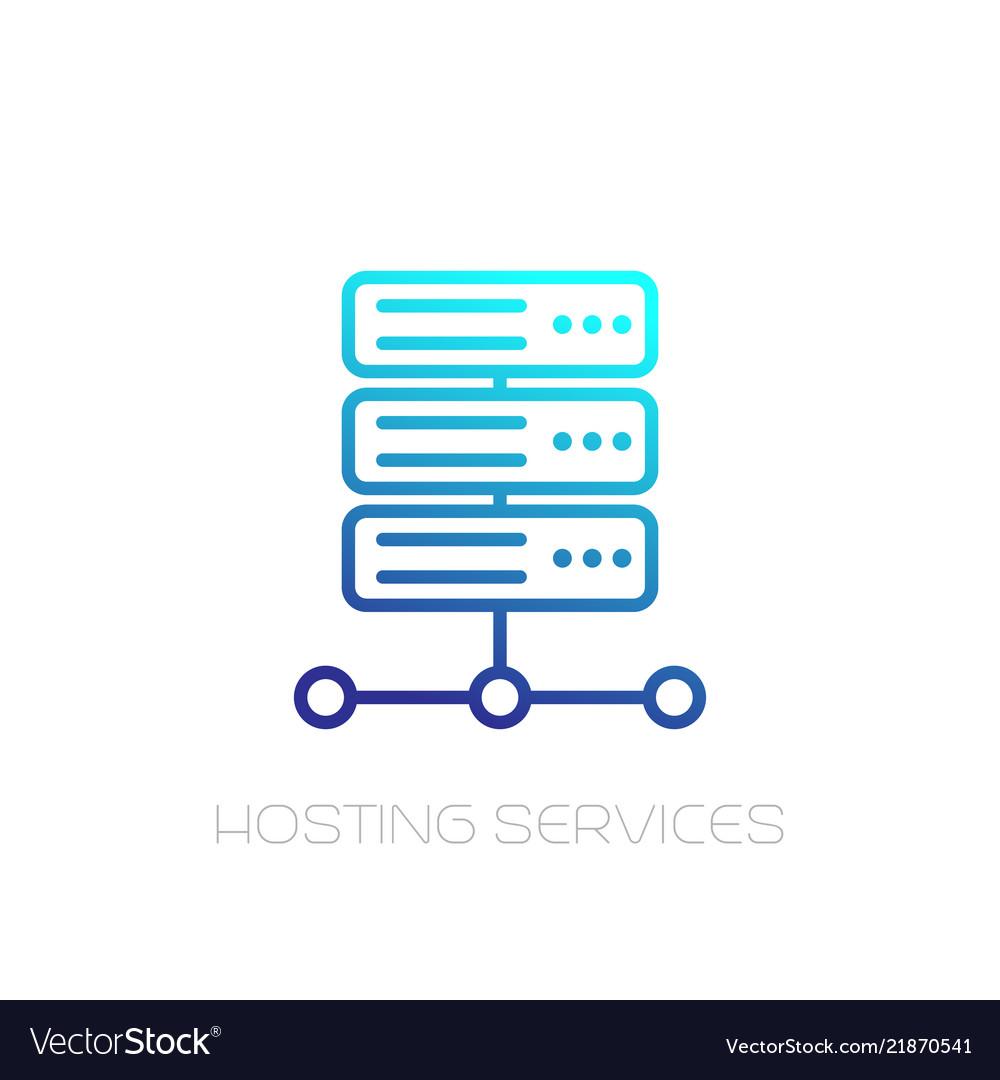 Server hosting services line icon on white