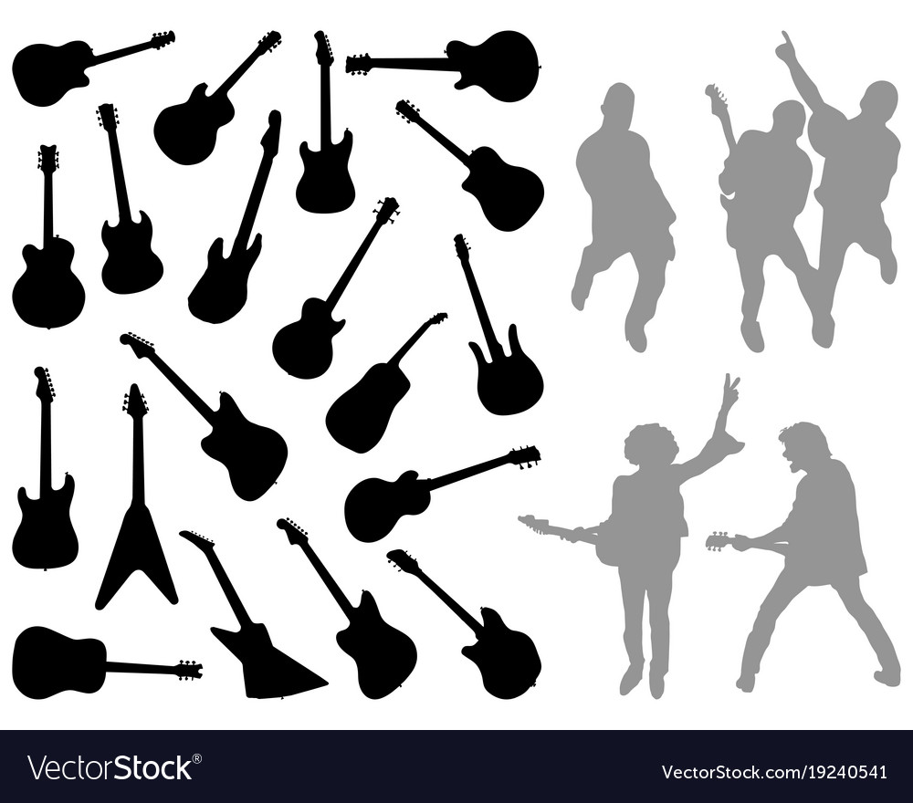Silhouettes of different guitars