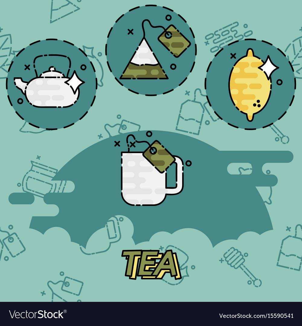 Tea flat concept icons