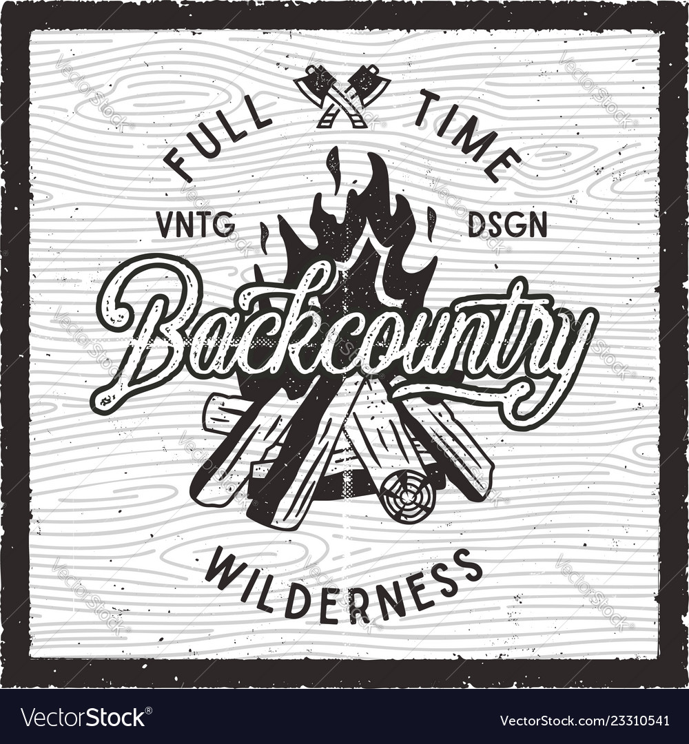 Vintage hand drawn camping poster backcountry