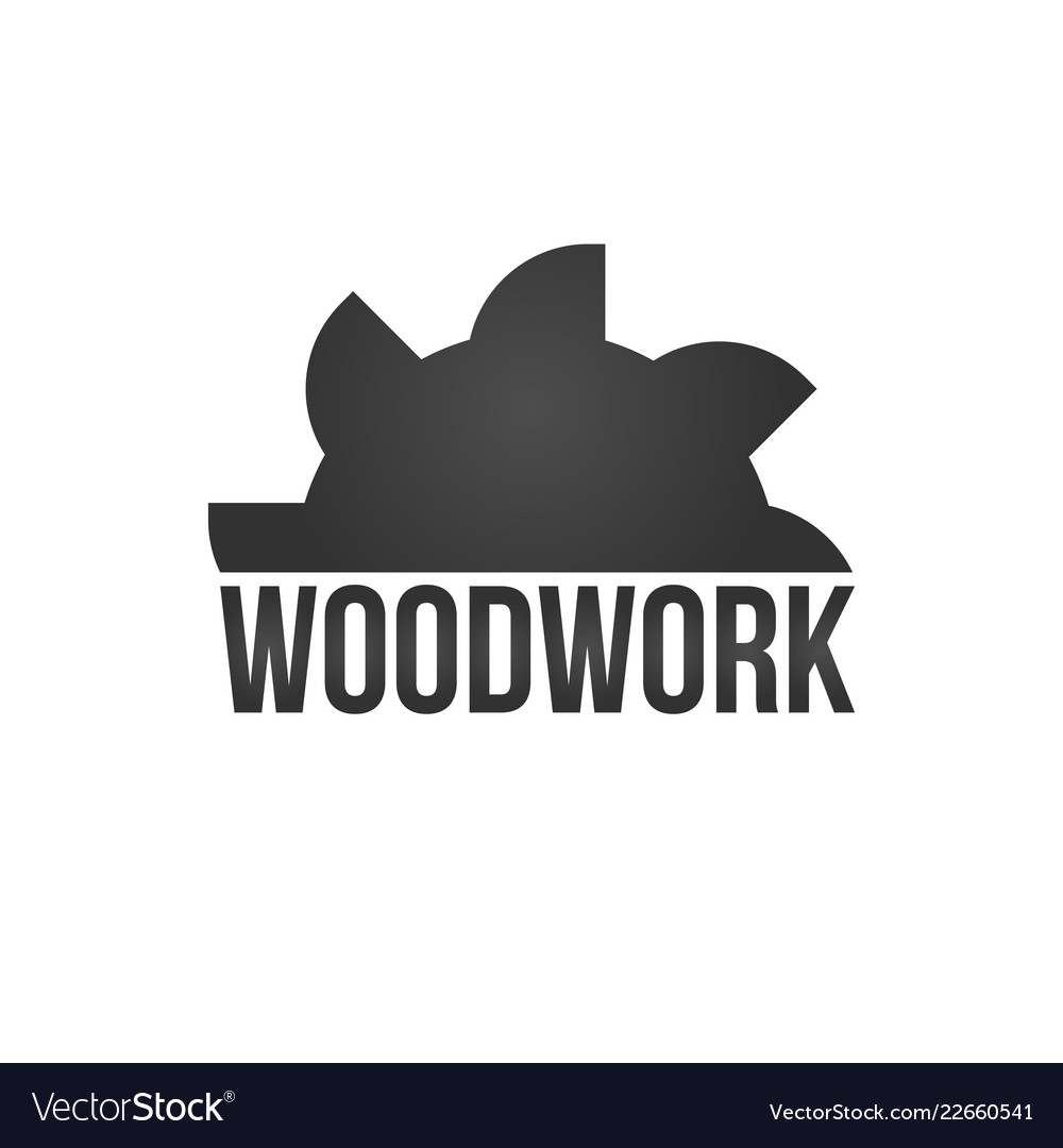 Wood work logo with sawed wood isolated on