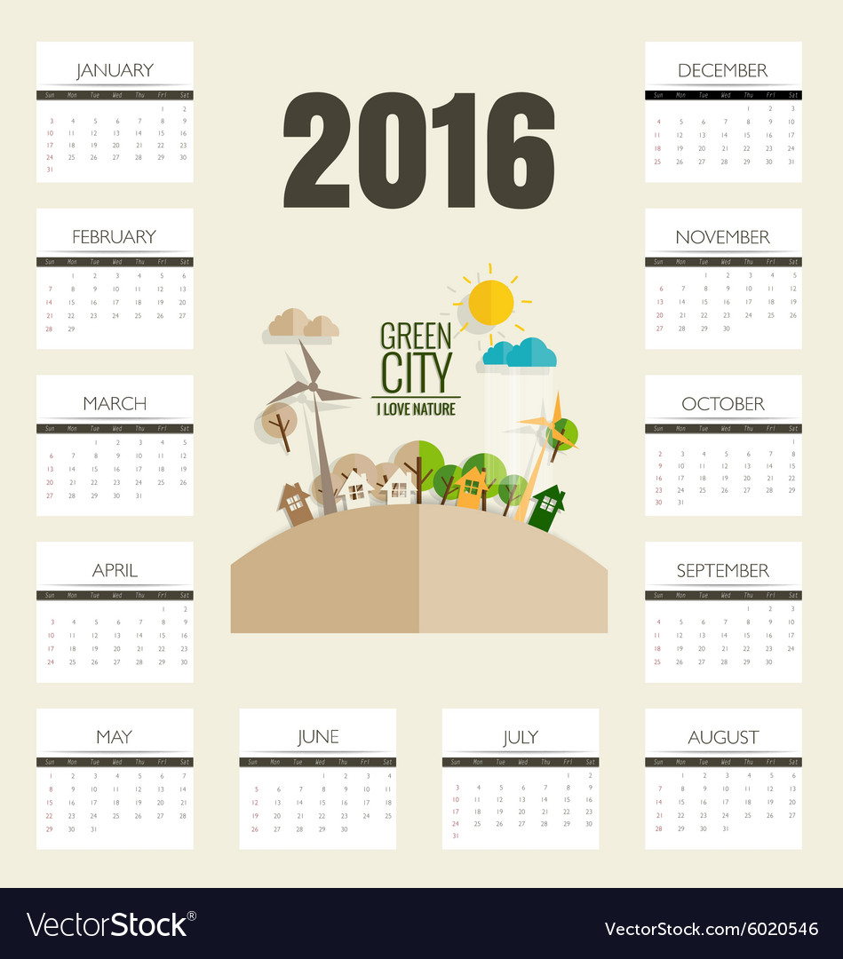 2016 calendar modern business card template with vector image cheaphphosting Choice Image