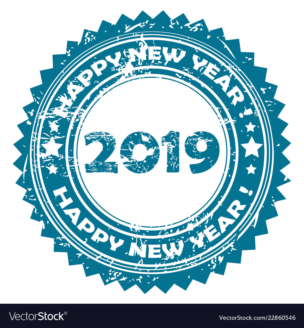 2019 happy new year blue rubber stamp