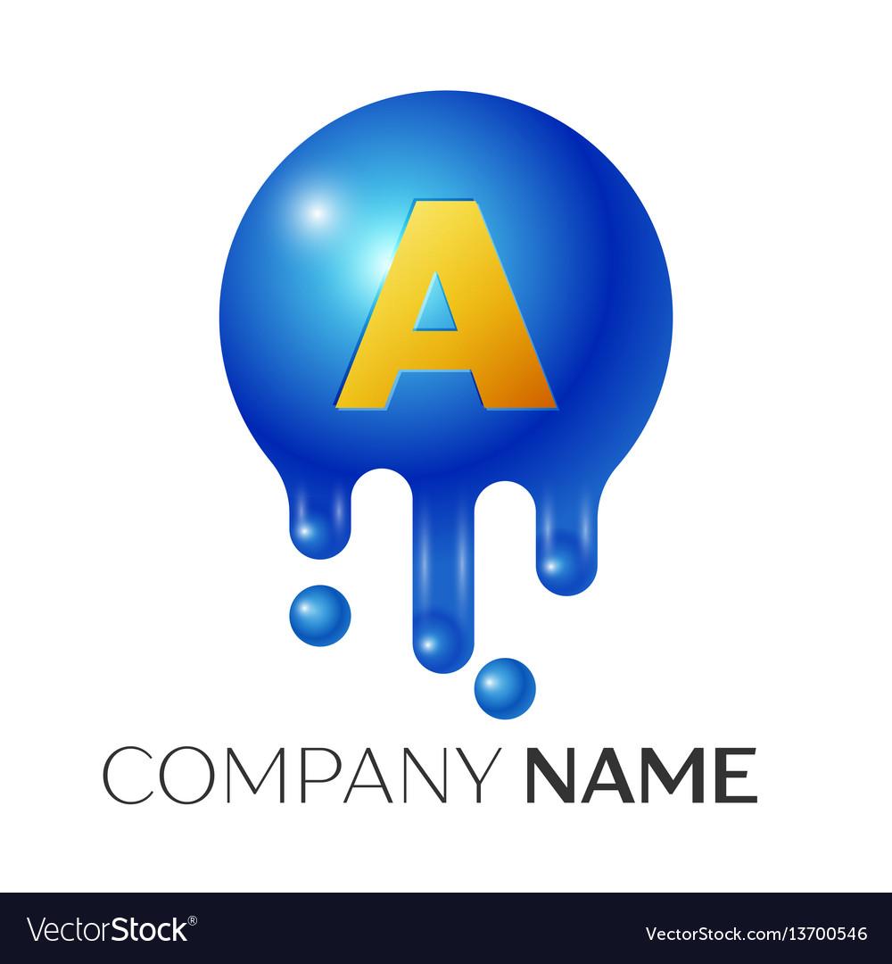 A letter splash logo blue dots and bubbles letter