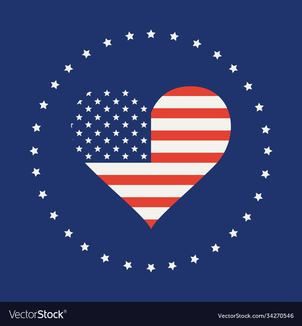 American flag in form heart
