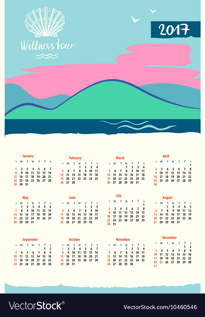 Calendar 2017 with logo travel company vector image