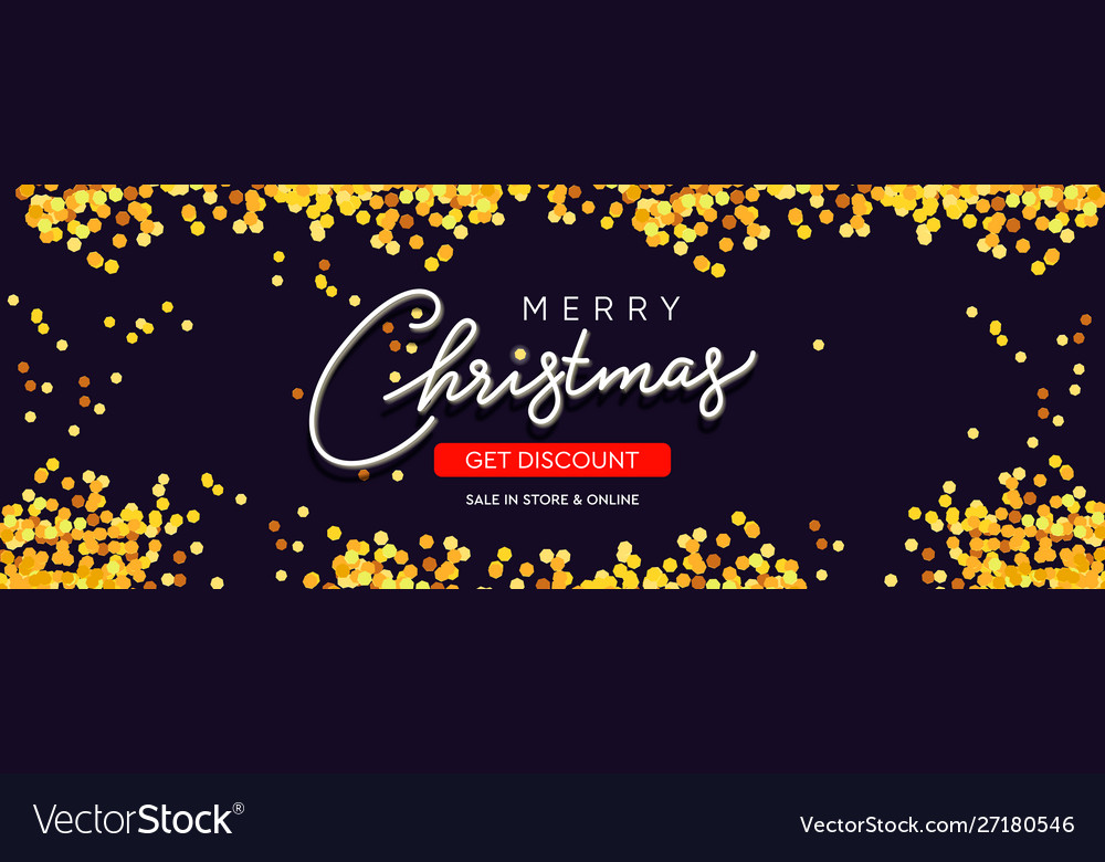 Christmas sale horizontal background with golden