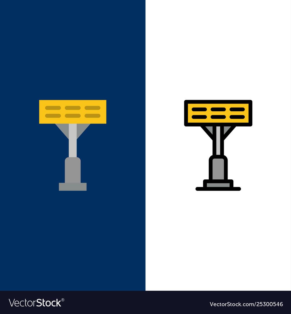 Construction light stadium icons flat and line