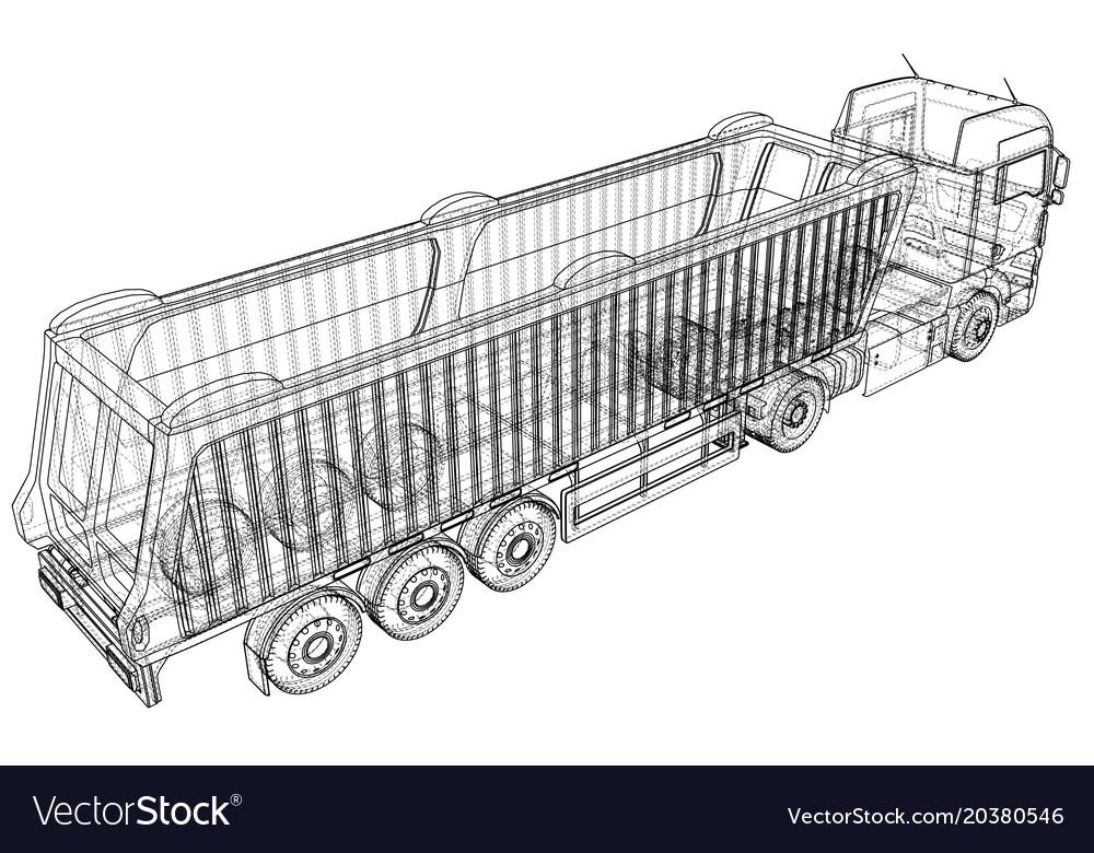 Dump truck isolated white vector image