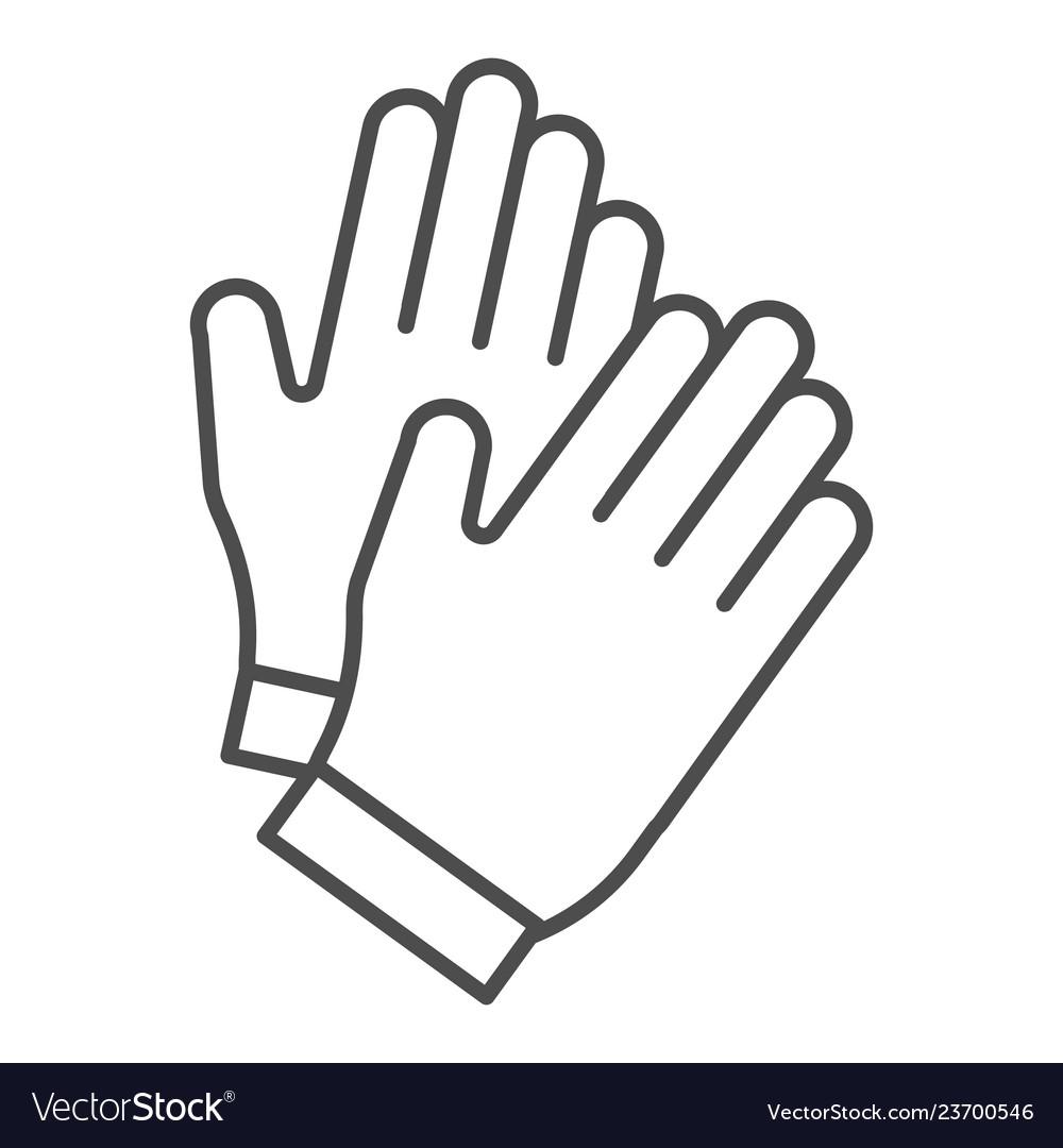Gloves thin line icon garden glove