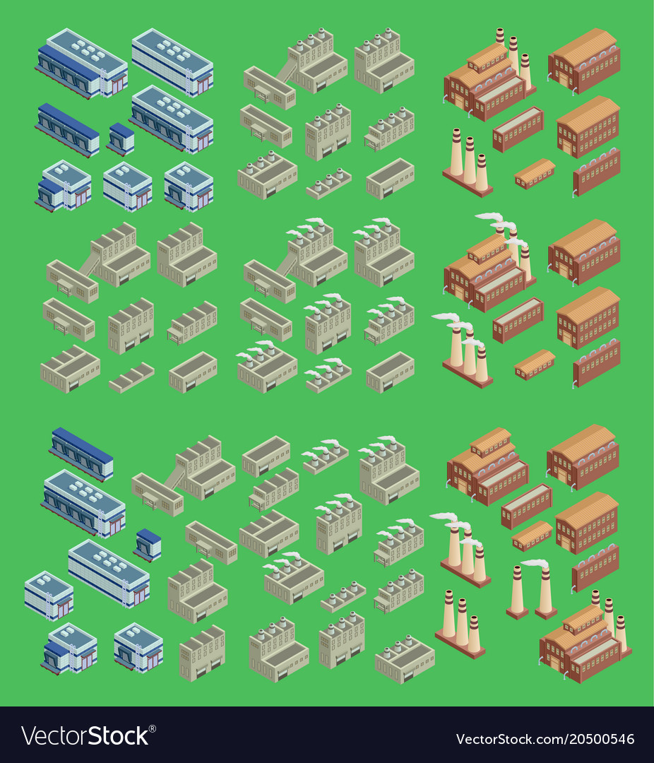 Isometric factory icon set which includes