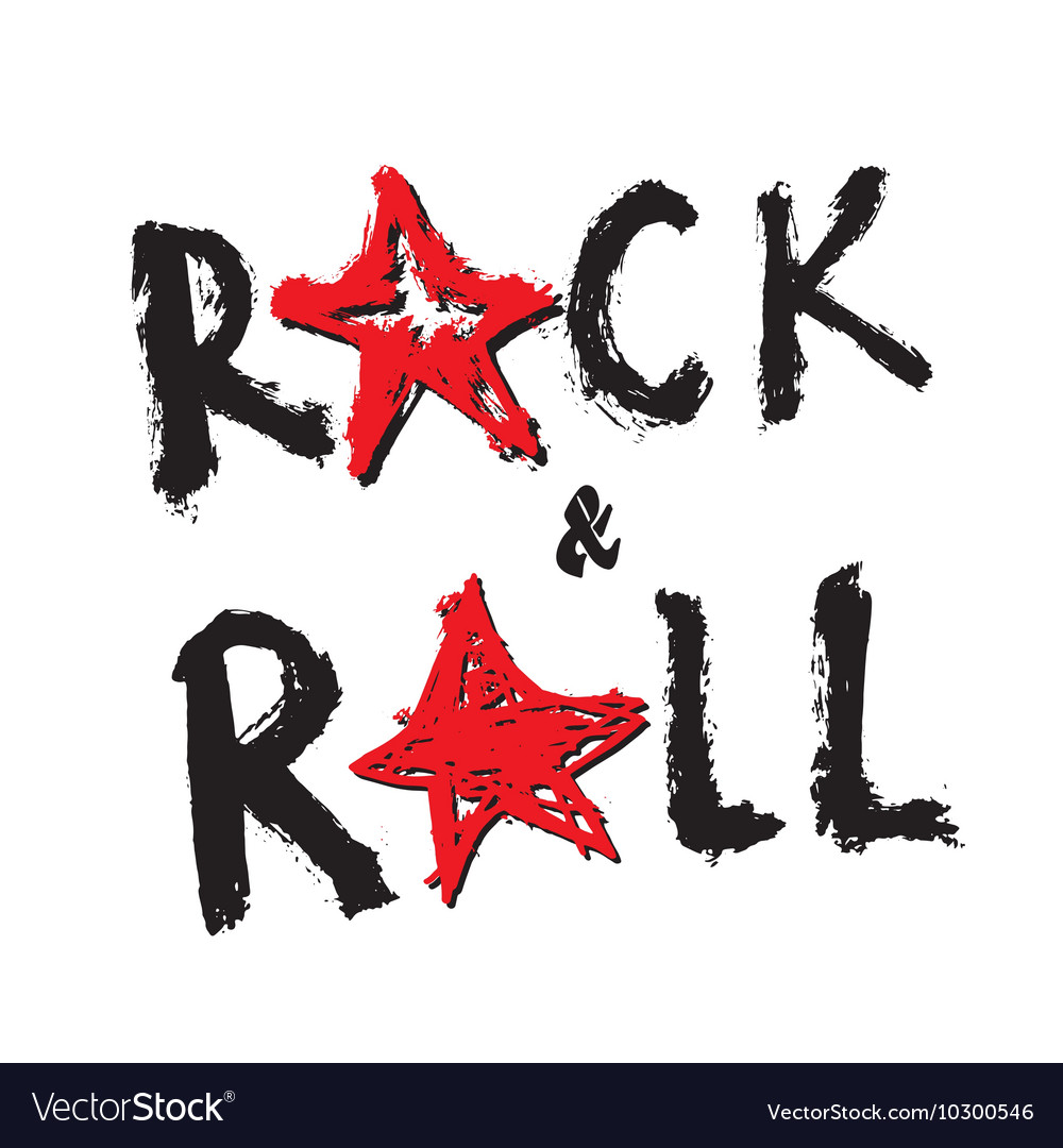 Music Rock and Roll Hand Drawn Lettering vector image