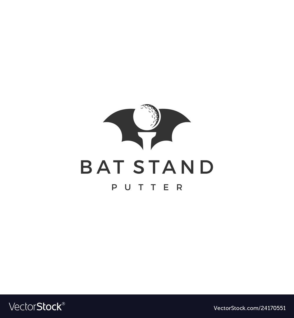 Bat stand putter golf ball negative space logo