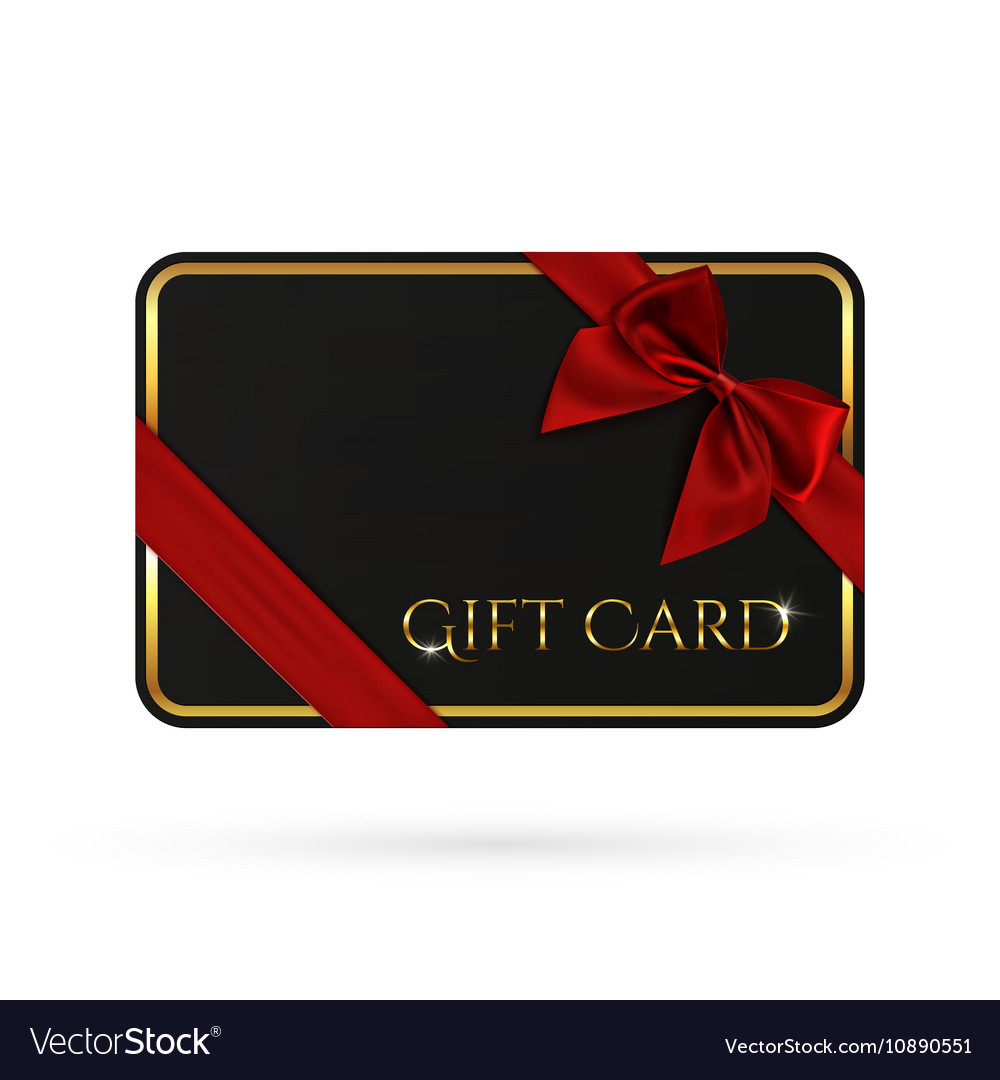 Black gift card template with red ribbon and a bow