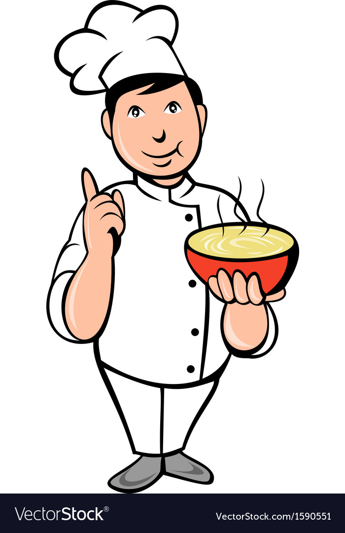 Cartoon Chef cook with bowl of soup vector image