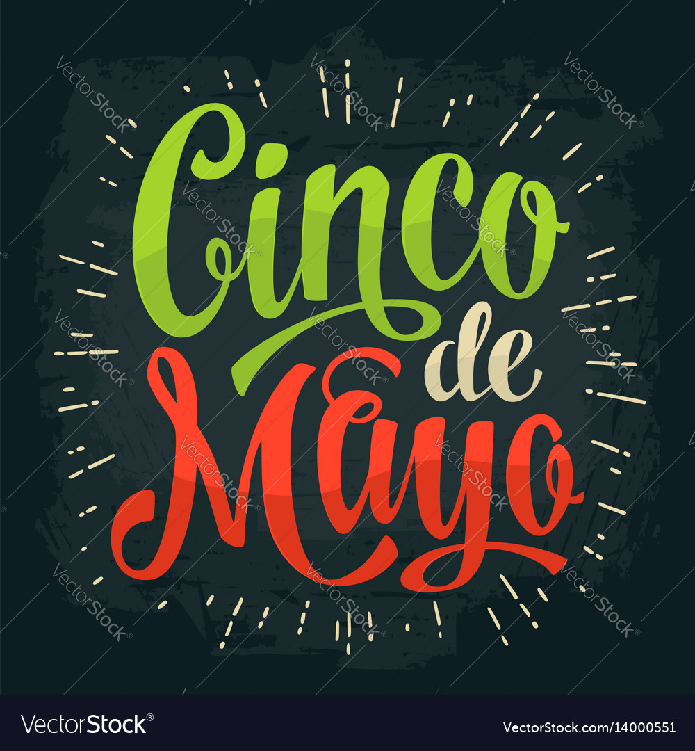 Cinco de mayo lettering color vintage