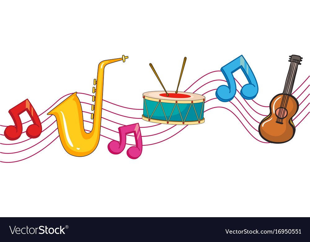 Different types of instruments with music notes vector image