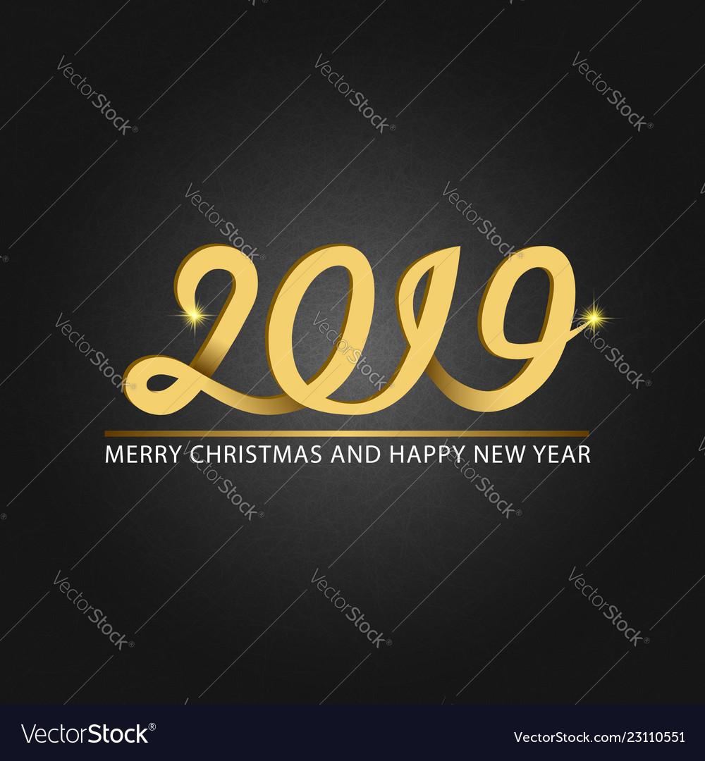 Happy new year and merry christmas monogram 2019
