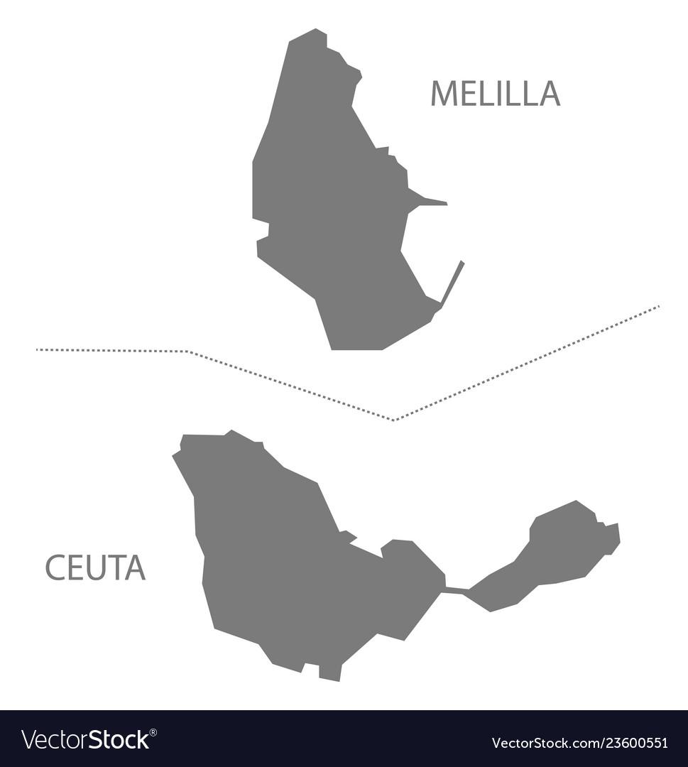 Melilla Spain Map.Melilla And Ceuta Spain Map Grey Royalty Free Vector Image
